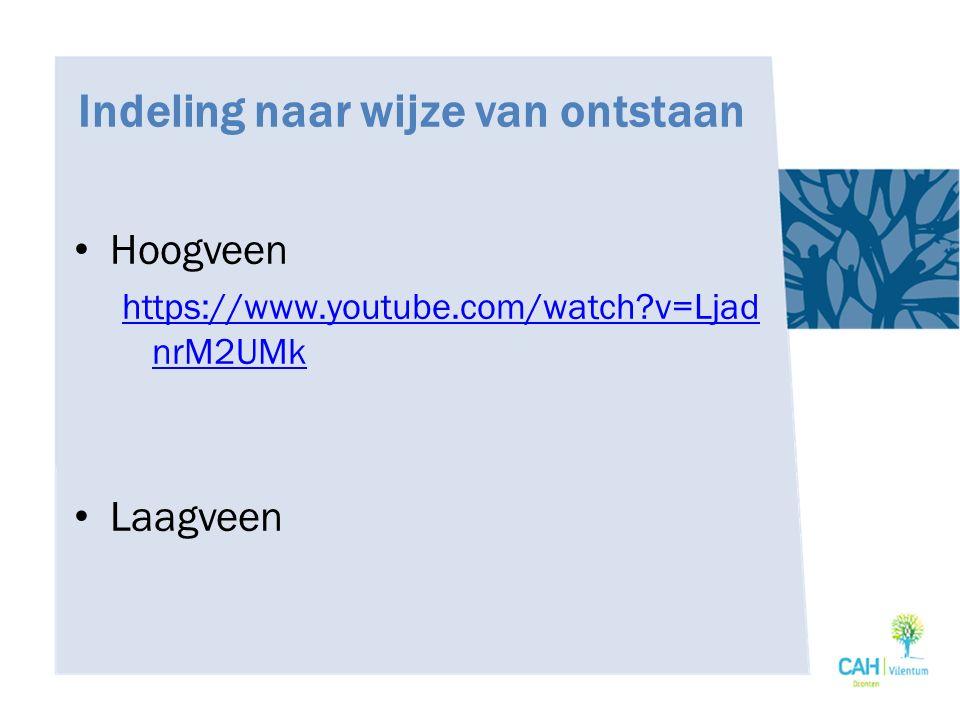 Indeling naar wijze van ontstaan Hoogveen https://www.youtube.com/watch?v=Ljad nrM2UMk Laagveen