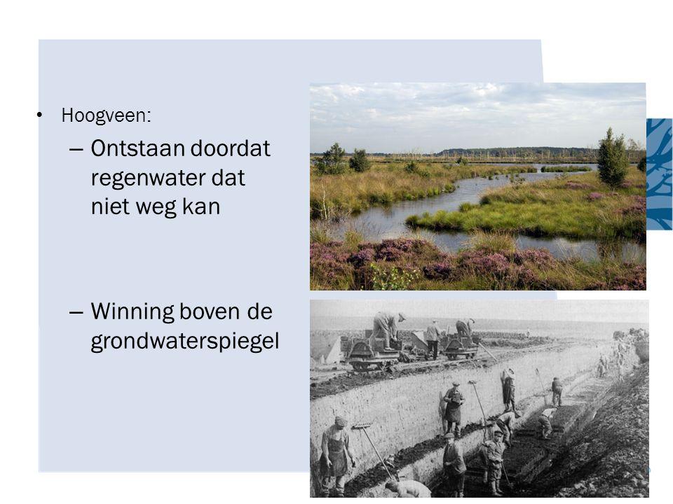 Hoogveen: – Ontstaan doordat regenwater dat niet weg kan – Winning boven de grondwaterspiegel