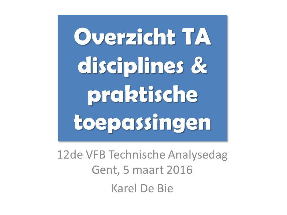 12de VFB Technische Analysedag Gent, 5 maart 2016 Karel De Bie Overzicht TA disciplines & praktische toepassingen