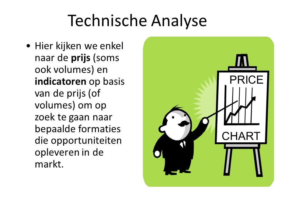 Hier kijken we enkel naar de prijs (soms ook volumes) en indicatoren op basis van de prijs (of volumes) om op zoek te gaan naar bepaalde formaties die opportuniteiten opleveren in de markt.