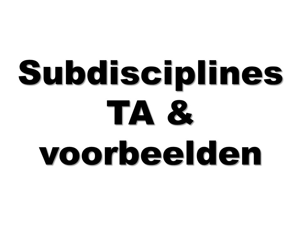 Subdisciplines TA & voorbeelden