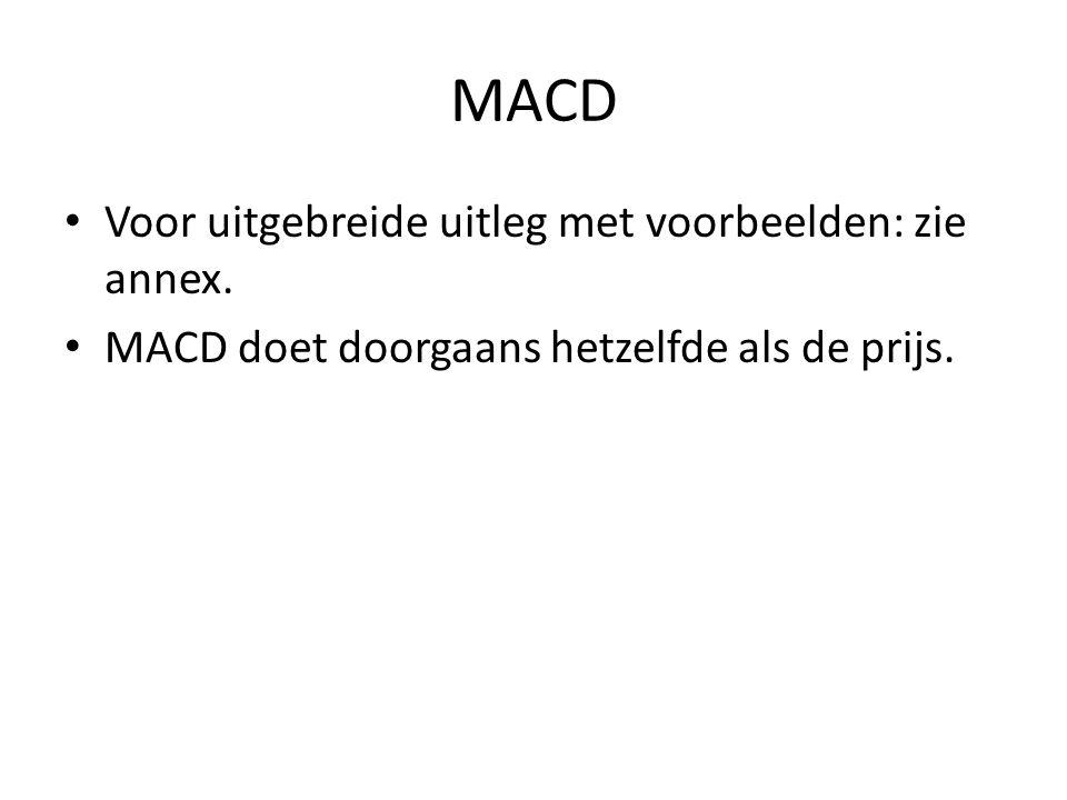 MACD Voor uitgebreide uitleg met voorbeelden: zie annex. MACD doet doorgaans hetzelfde als de prijs.