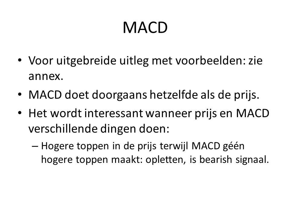 MACD Voor uitgebreide uitleg met voorbeelden: zie annex.