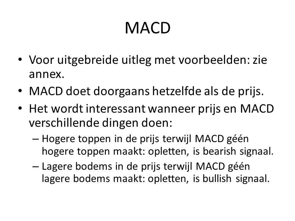MACD Voor uitgebreide uitleg met voorbeelden: zie annex. MACD doet doorgaans hetzelfde als de prijs. Het wordt interessant wanneer prijs en MACD versc