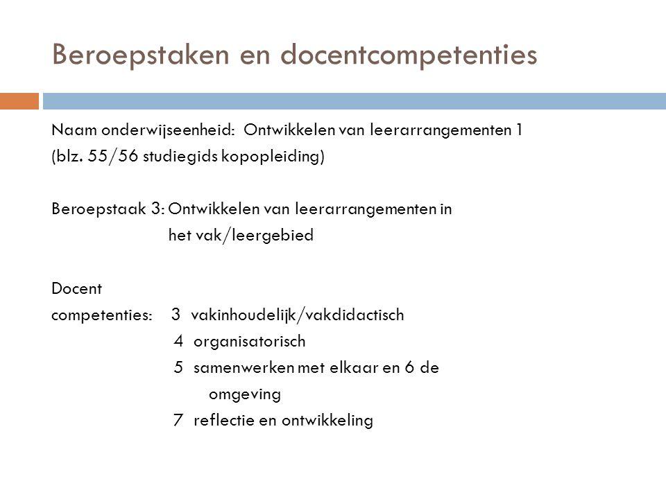 Beroepstaken en docentcompetenties Naam onderwijseenheid: Ontwikkelen van leerarrangementen 1 (blz.