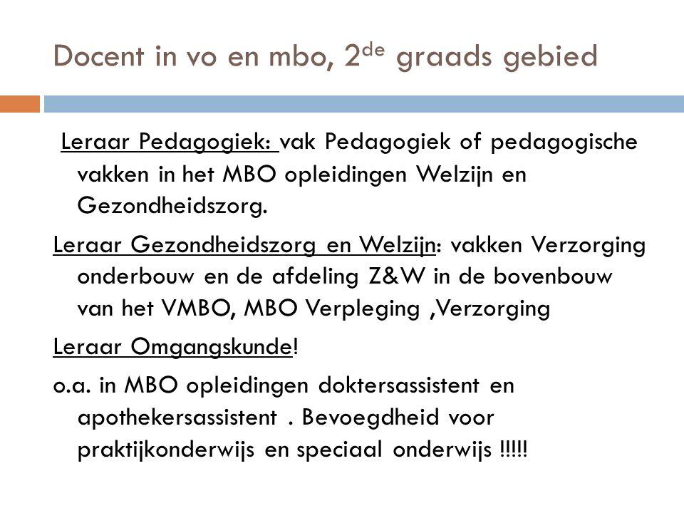 Docent in vo en mbo, 2 de graads gebied Leraar Pedagogiek: vak Pedagogiek of pedagogische vakken in het MBO opleidingen Welzijn en Gezondheidszorg.
