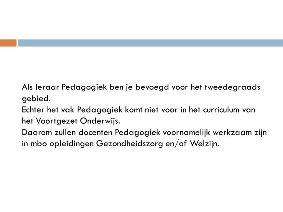 Als leraar Pedagogiek ben je bevoegd voor het tweedegraads gebied.