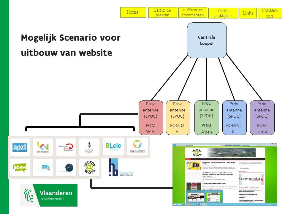 Mogelijk Scenario voor uitbouw van website Centrale koepel Prov.