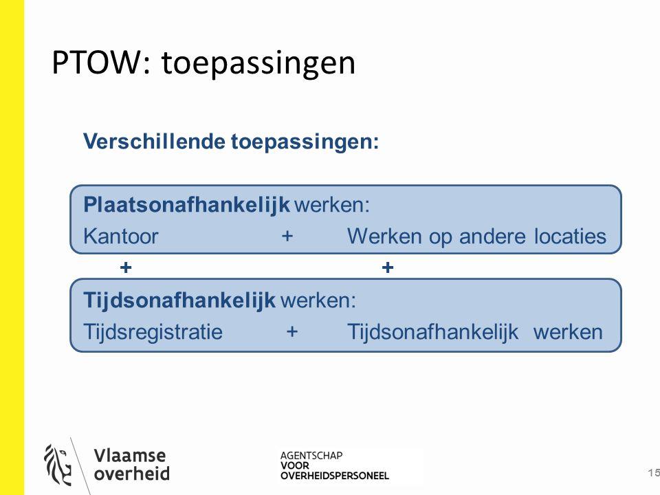 PTOW: toepassingen 15 Verschillende toepassingen: Plaatsonafhankelijk werken: Kantoor +Werken op andere locaties + + Tijdsonafhankelijk werken: Tijdsr