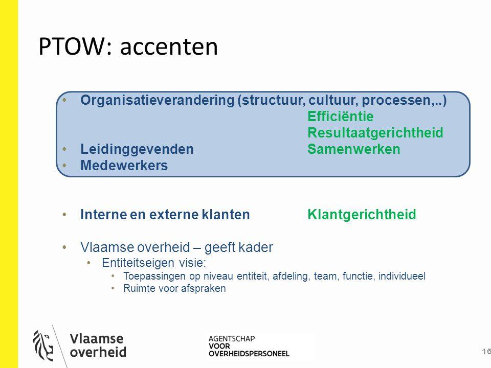 PTOW: accenten 16 Organisatieverandering (structuur, cultuur, processen,..) Efficiëntie Resultaatgerichtheid LeidinggevendenSamenwerken Medewerkers In