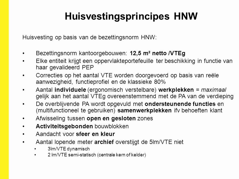 Huisvestingsprincipes HNW Huisvesting op basis van de bezettingsnorm HNW: Bezettingsnorm kantoorgebouwen: 12,5 m² netto /VTEg Elke entiteit krijgt een