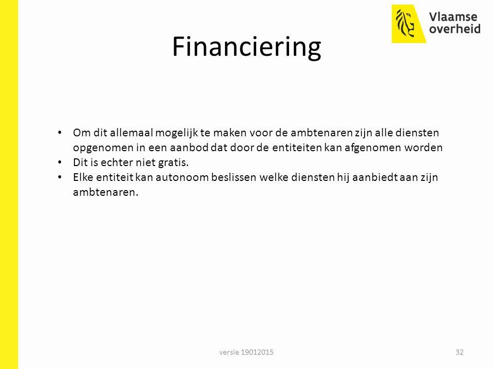 Financiering versie 1901201532 Om dit allemaal mogelijk te maken voor de ambtenaren zijn alle diensten opgenomen in een aanbod dat door de entiteiten