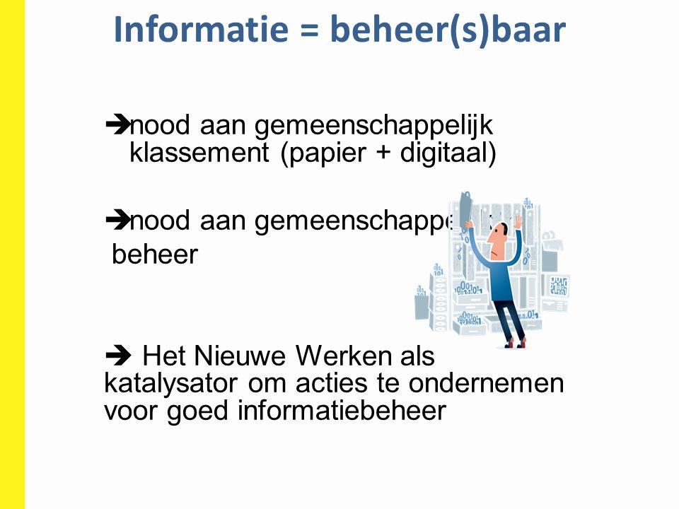 Informatie = beheer(s)baar  nood aan gemeenschappelijk klassement (papier + digitaal)  nood aan gemeenschappelijk beheer  Het Nieuwe Werken als kat
