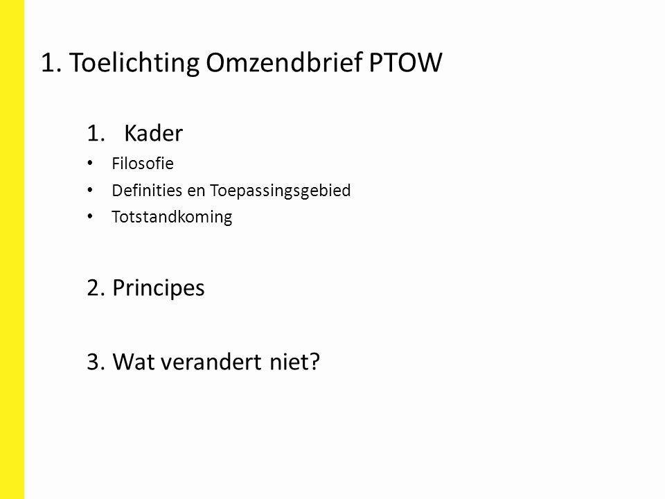 1. Toelichting Omzendbrief PTOW 1.Kader Filosofie Definities en Toepassingsgebied Totstandkoming 2. Principes 3. Wat verandert niet?