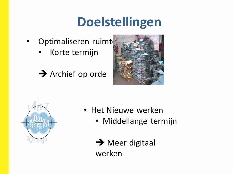 Doelstellingen Optimaliseren ruimte Korte termijn  Archief op orde Het Nieuwe werken Middellange termijn  Meer digitaal werken