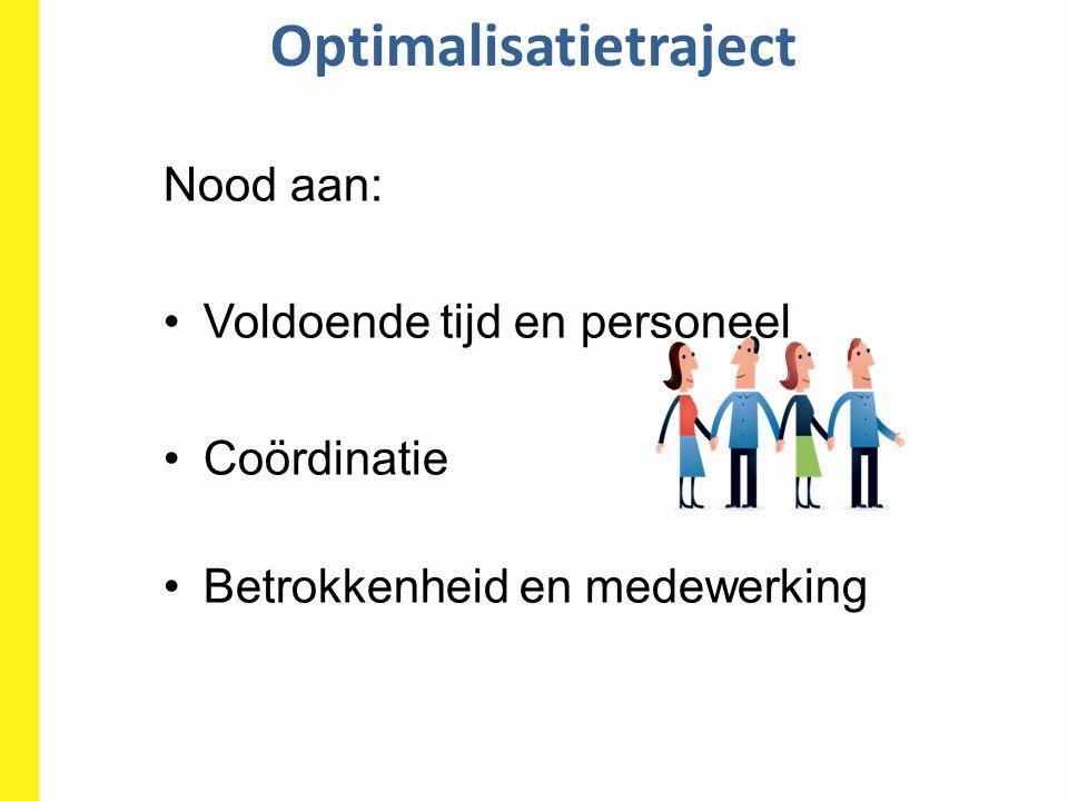 Optimalisatietraject Nood aan: Voldoende tijd en personeel Coördinatie Betrokkenheid en medewerking