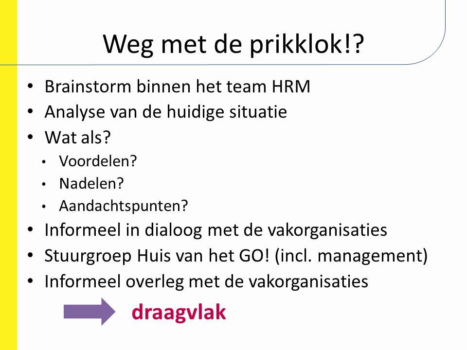 Weg met de prikklok!? Brainstorm binnen het team HRM Analyse van de huidige situatie Wat als? Voordelen? Nadelen? Aandachtspunten? Informeel in dialoo