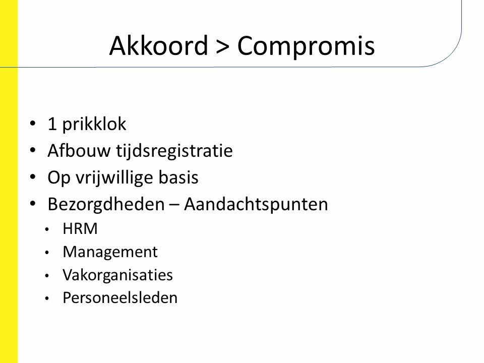 Akkoord > Compromis 1 prikklok Afbouw tijdsregistratie Op vrijwillige basis Bezorgdheden – Aandachtspunten HRM Management Vakorganisaties Personeelsle