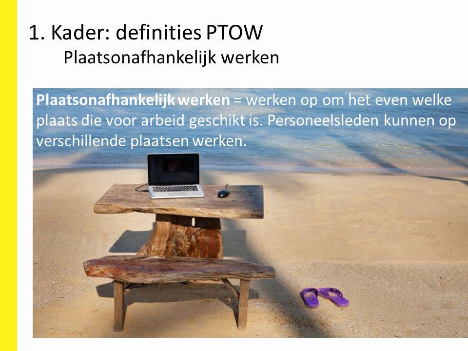 Plaatsonafhankelijk werken = werken op om het even welke plaats die voor arbeid geschikt is. Personeelsleden kunnen op verschillende plaatsen werken.