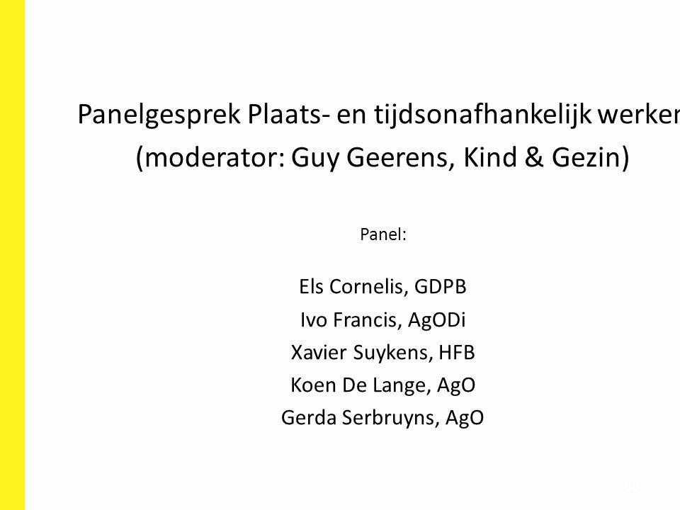 80 Panelgesprek Plaats- en tijdsonafhankelijk werken (moderator: Guy Geerens, Kind & Gezin) Panel: Els Cornelis, GDPB Ivo Francis, AgODi Xavier Suyken