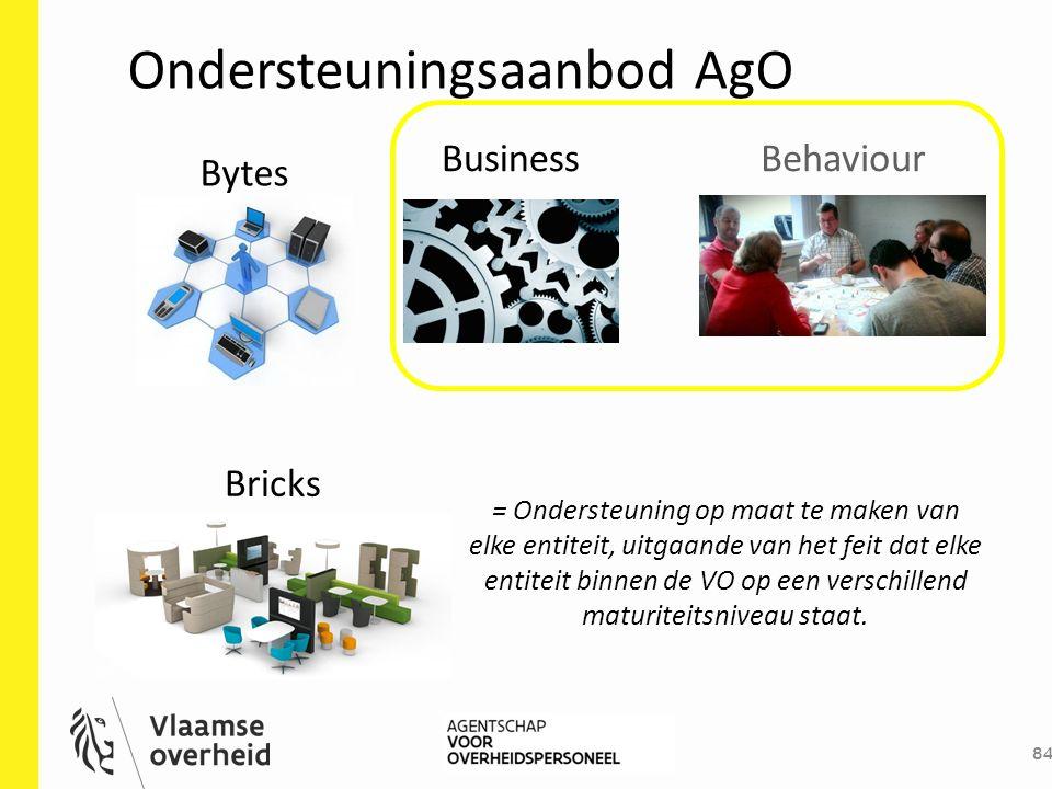 Behaviour Ondersteuningsaanbod AgO 84 Bytes Bricks Business = Ondersteuning op maat te maken van elke entiteit, uitgaande van het feit dat elke entite