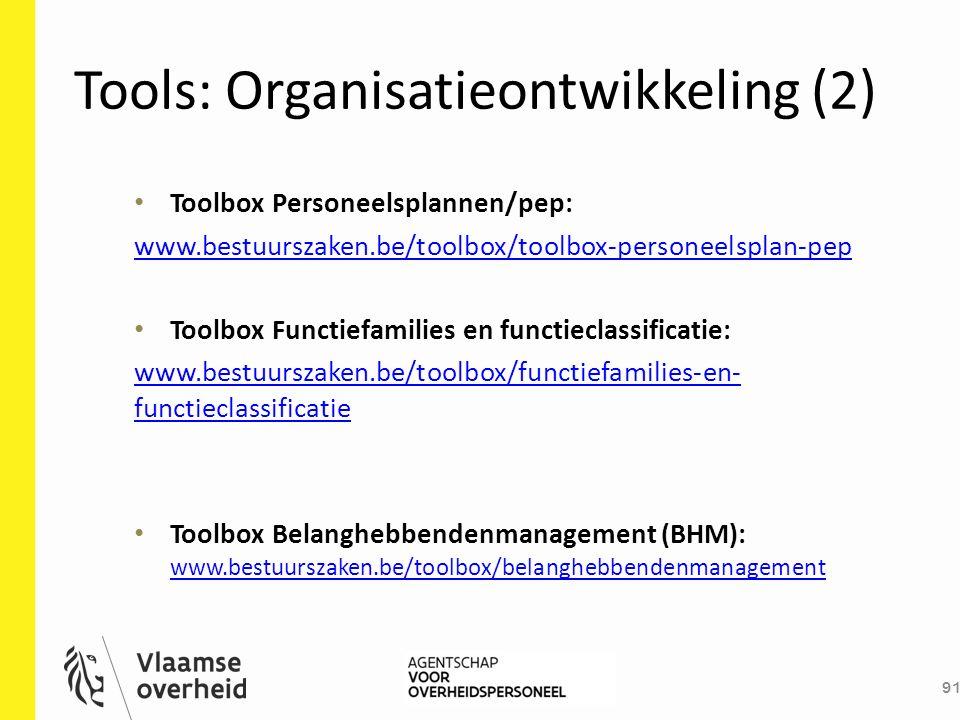 Tools: Organisatieontwikkeling (2) 91 Toolbox Personeelsplannen/pep: www.bestuurszaken.be/toolbox/toolbox-personeelsplan-pep Toolbox Functiefamilies e