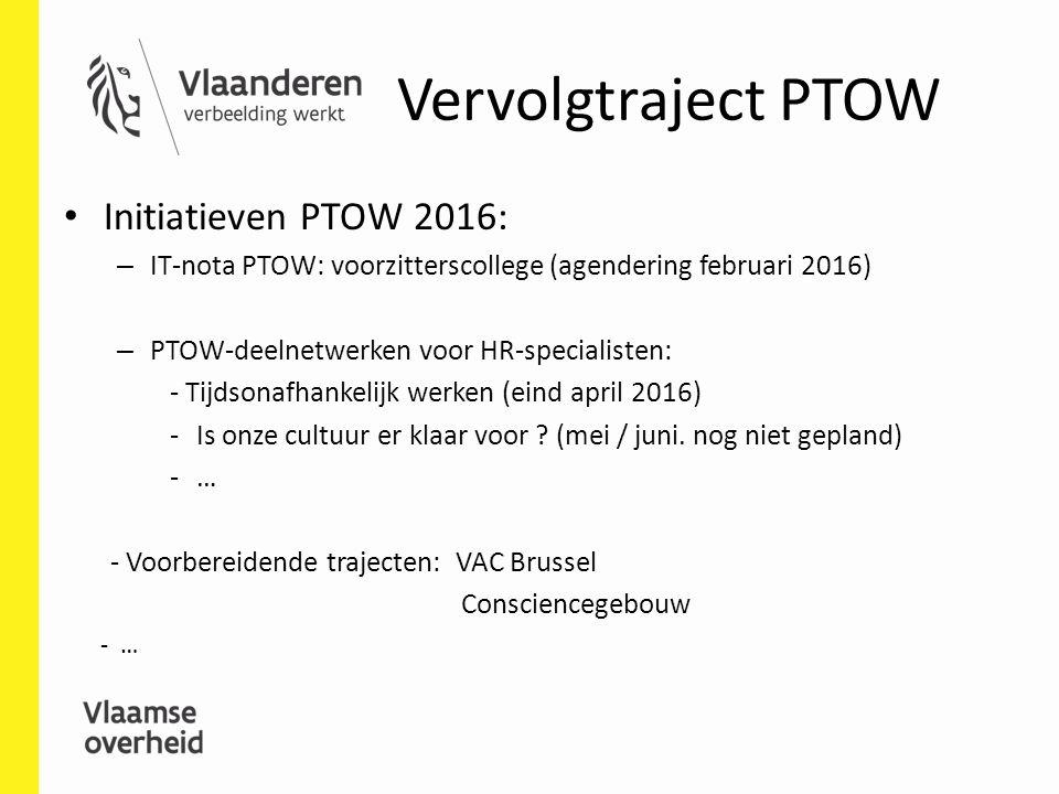 Vervolgtraject PTOW Initiatieven PTOW 2016: – IT-nota PTOW: voorzitterscollege (agendering februari 2016) – PTOW-deelnetwerken voor HR-specialisten: -