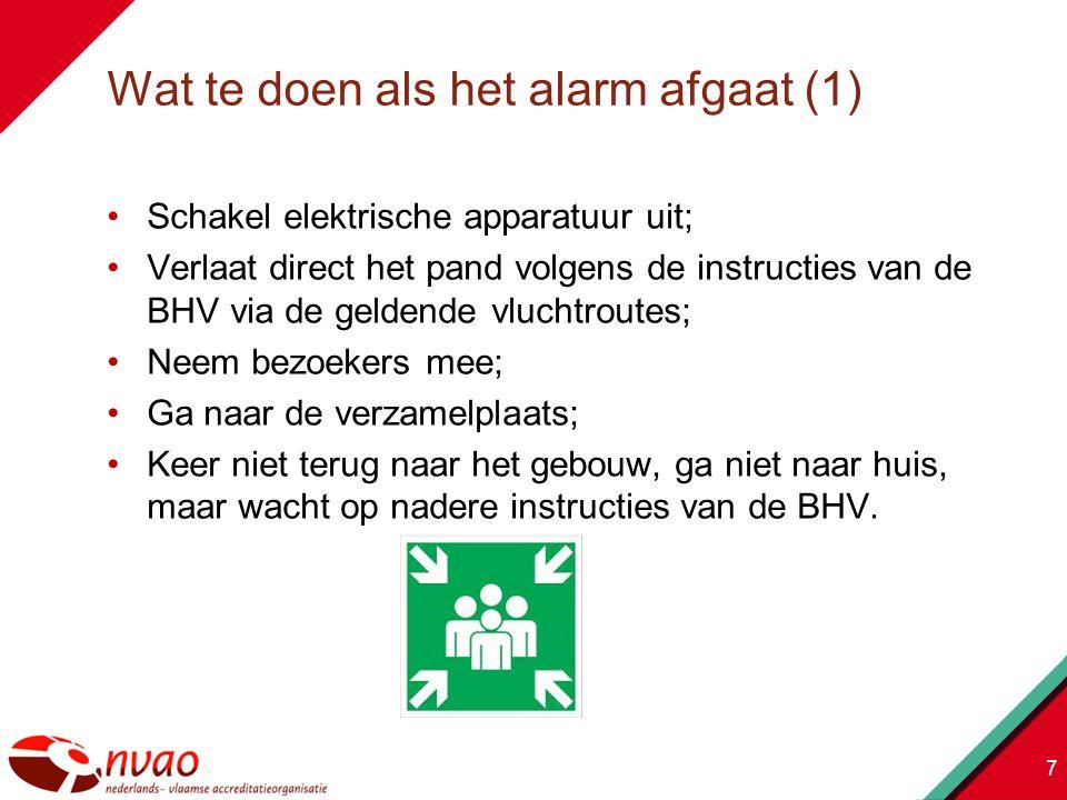Schakel elektrische apparatuur uit; Verlaat direct het pand volgens de instructies van de BHV via de geldende vluchtroutes; Neem bezoekers mee; Ga naar de verzamelplaats; Keer niet terug naar het gebouw, ga niet naar huis, maar wacht op nadere instructies van de BHV.