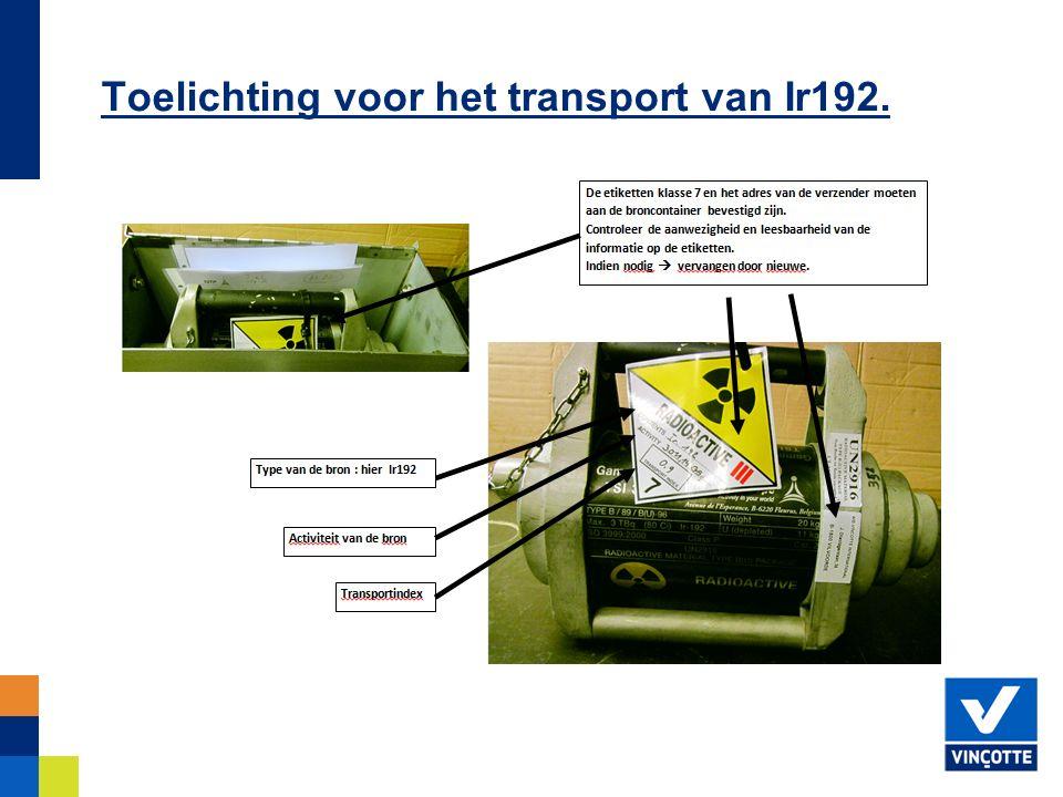 Toelichting voor het transport van Ir192.