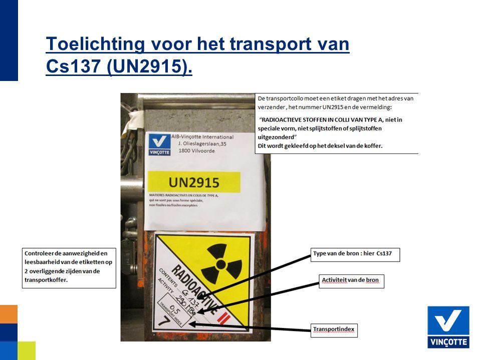 Toelichting voor het transport van Cs137 (UN2915).