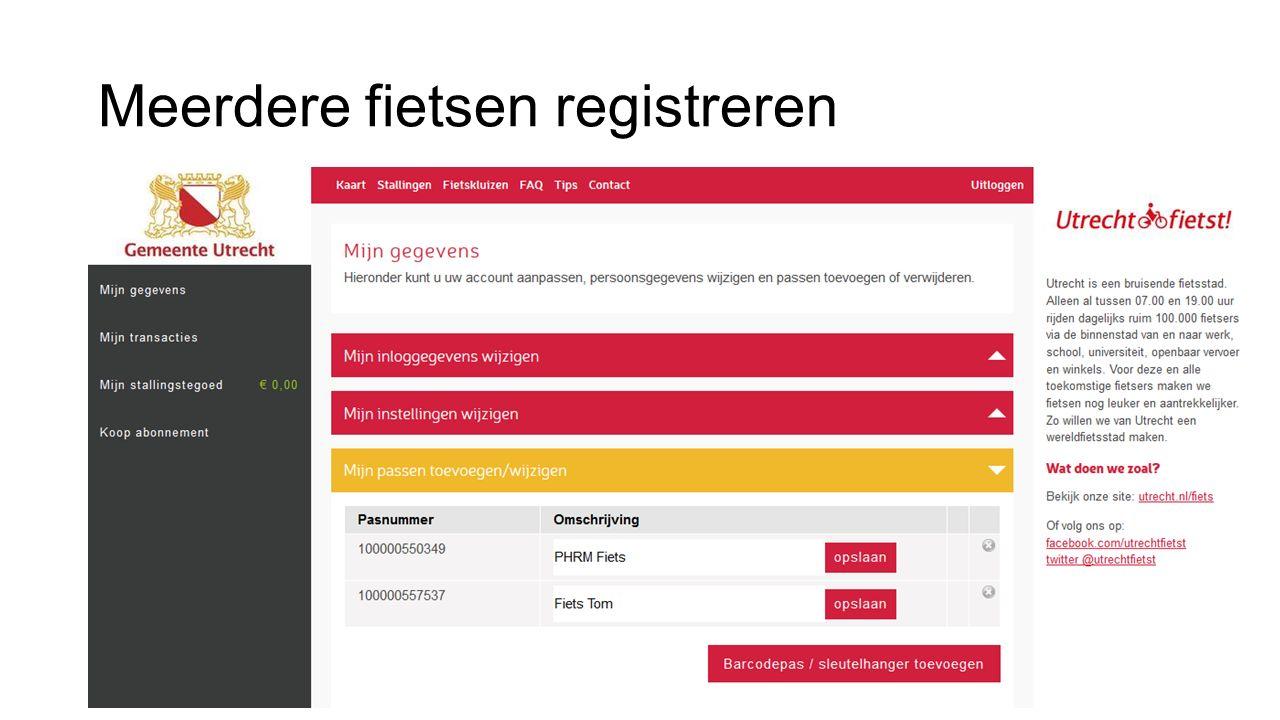 Meerdere fietsen registreren