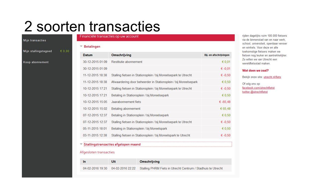 2 soorten transacties