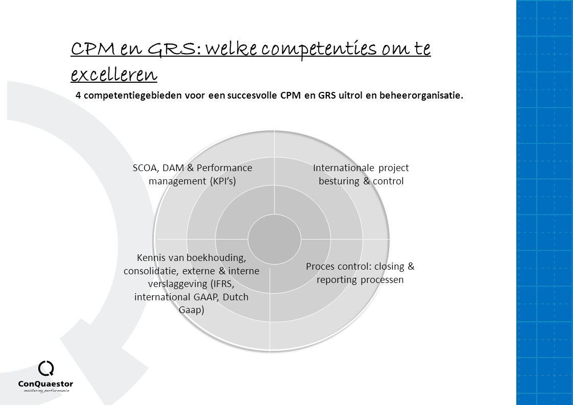 4 competentiegebieden voor een succesvolle CPM en GRS uitrol en beheerorganisatie. SCOA, DAM & Performance management (KPI's) Internationale project b