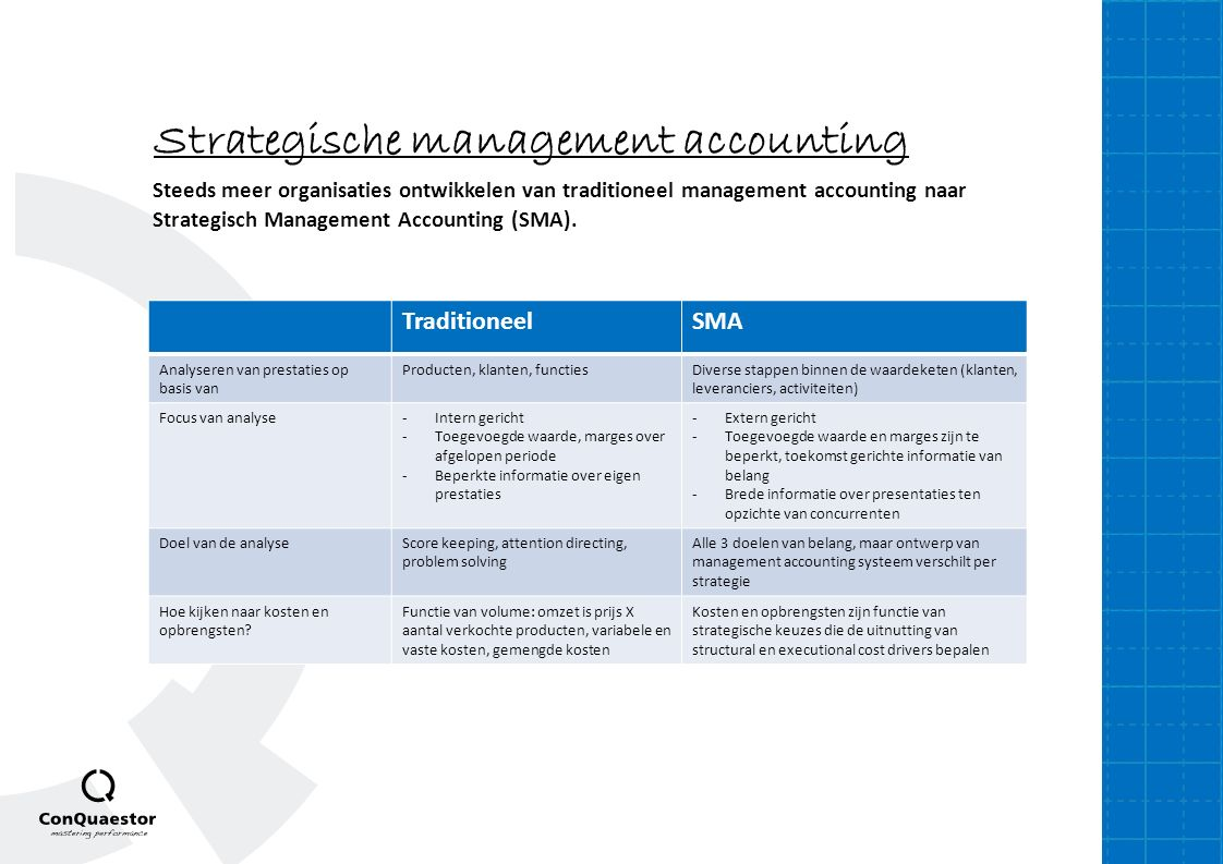 Strategische management accounting Steeds meer organisaties ontwikkelen van traditioneel management accounting naar Strategisch Management Accounting (SMA).