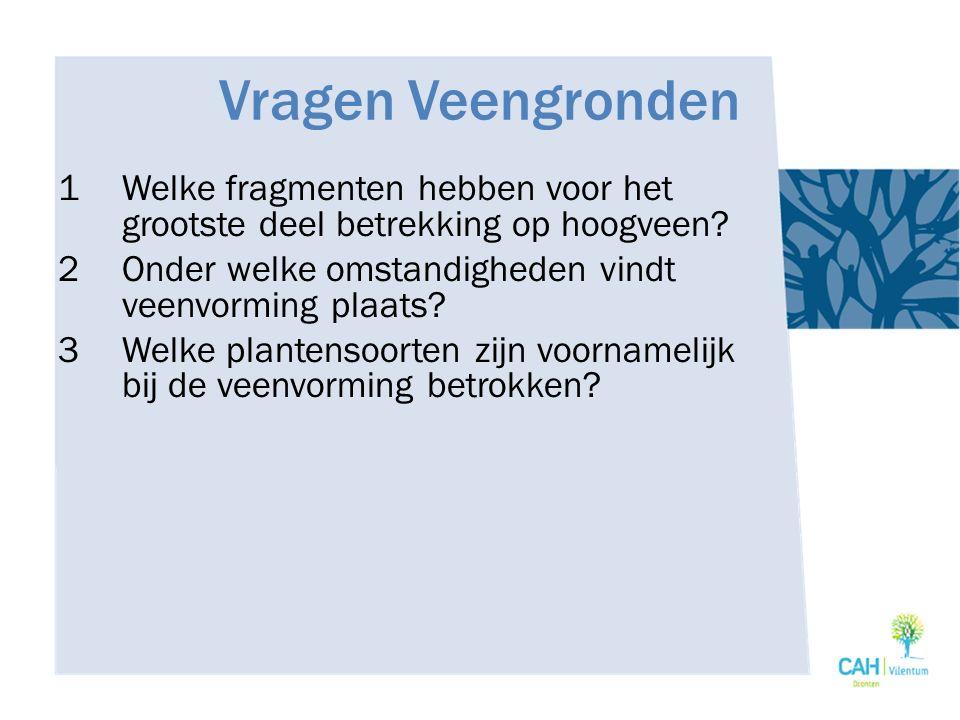 Vragen Veengronden 1Welke fragmenten hebben voor het grootste deel betrekking op hoogveen? 2Onder welke omstandigheden vindt veenvorming plaats? 3Welk