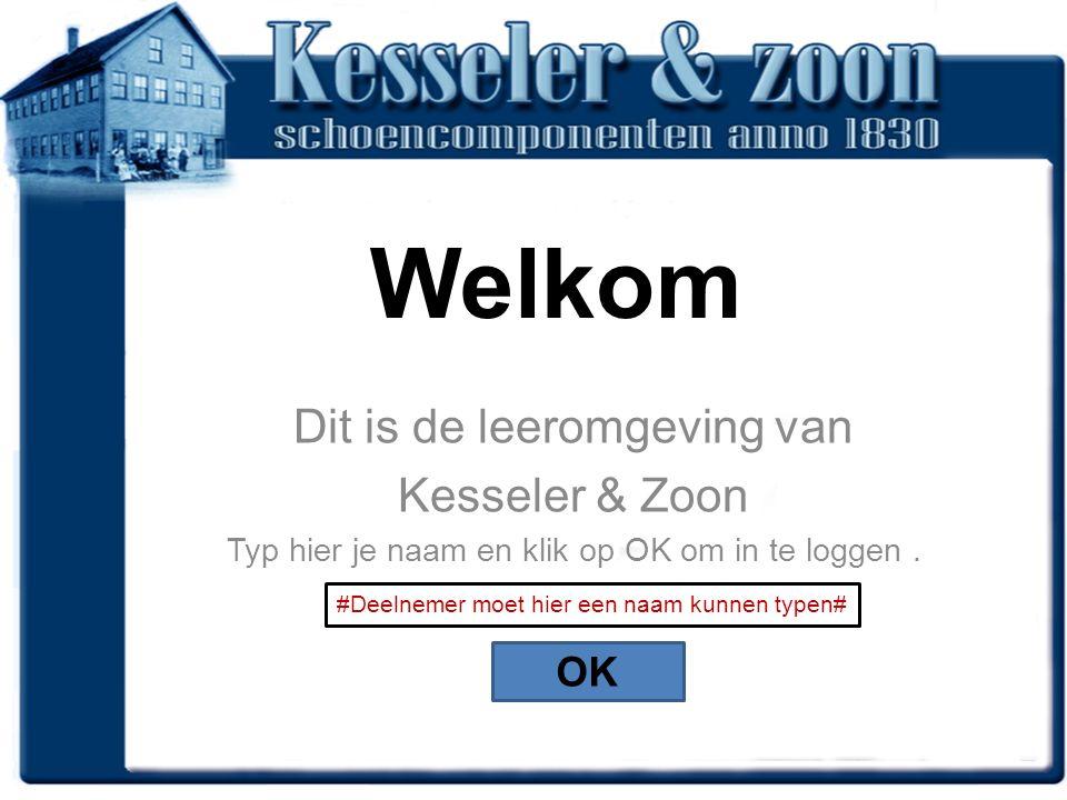 Welkom Dit is de leeromgeving van Kesseler & Zoon Typ hier je naam en klik op OK om in te loggen.