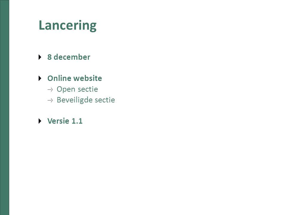 Lancering 8 december Online website Open sectie Beveiligde sectie Versie 1.1