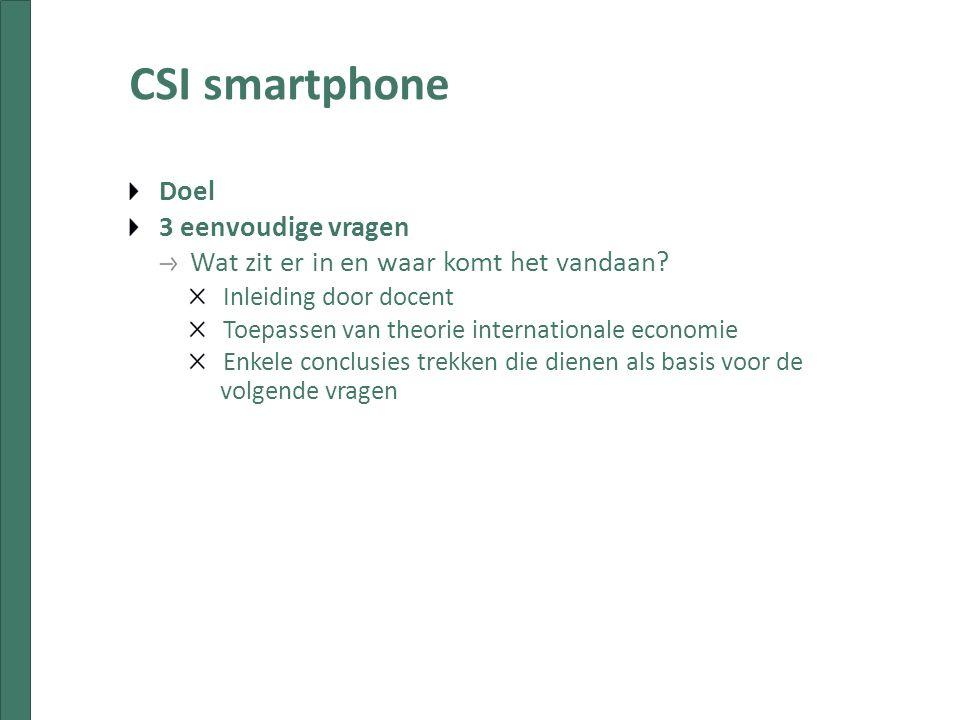 CSI smartphone Doel 3 eenvoudige vragen Wat zit er in en waar komt het vandaan.