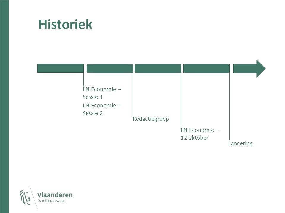 Historiek LN Economie – Sessie 1 LN Economie – Sessie 2 Redactiegroep LN Economie – 12 oktober Lancering
