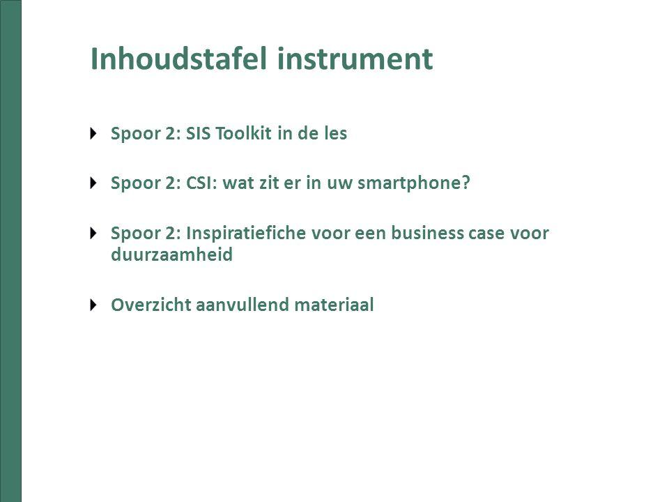 Inhoudstafel instrument Spoor 2: SIS Toolkit in de les Spoor 2: CSI: wat zit er in uw smartphone.