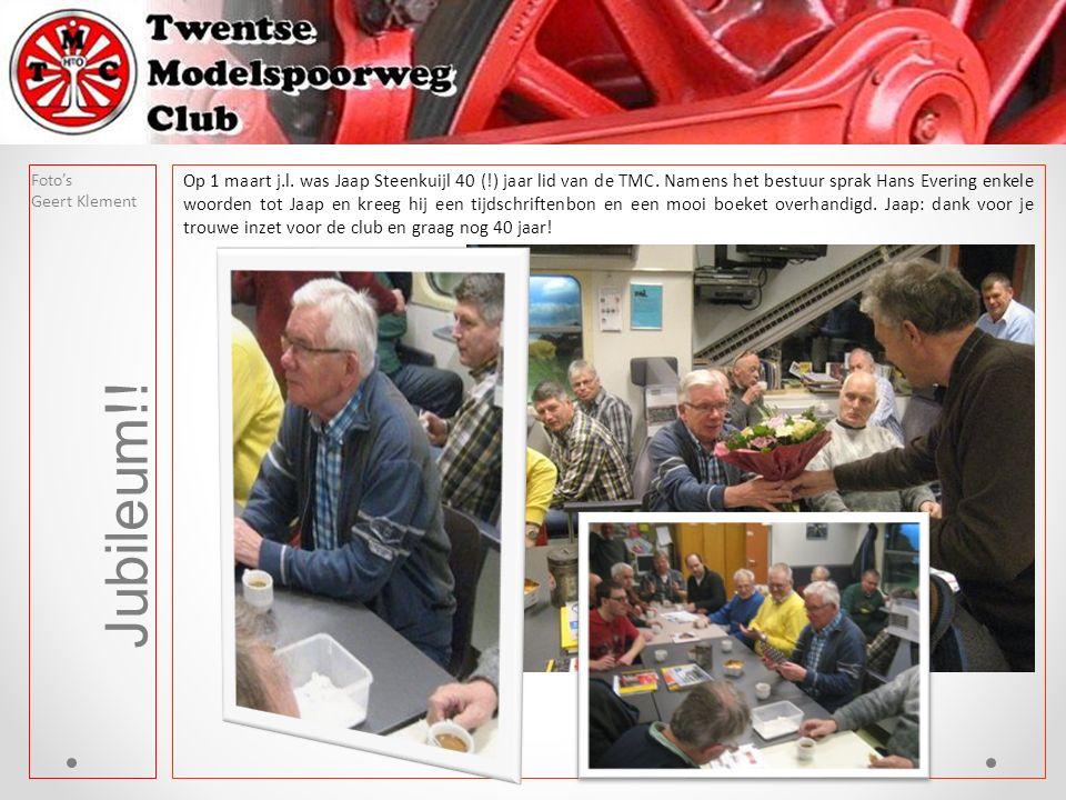 Jubileum!! Foto's Geert Klement Op 1 maart j.l. was Jaap Steenkuijl 40 (!) jaar lid van de TMC. Namens het bestuur sprak Hans Evering enkele woorden t