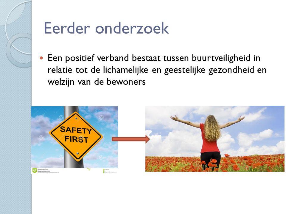 Eerder onderzoek Een positief verband bestaat tussen buurtveiligheid in relatie tot de lichamelijke en geestelijke gezondheid en welzijn van de bewoners