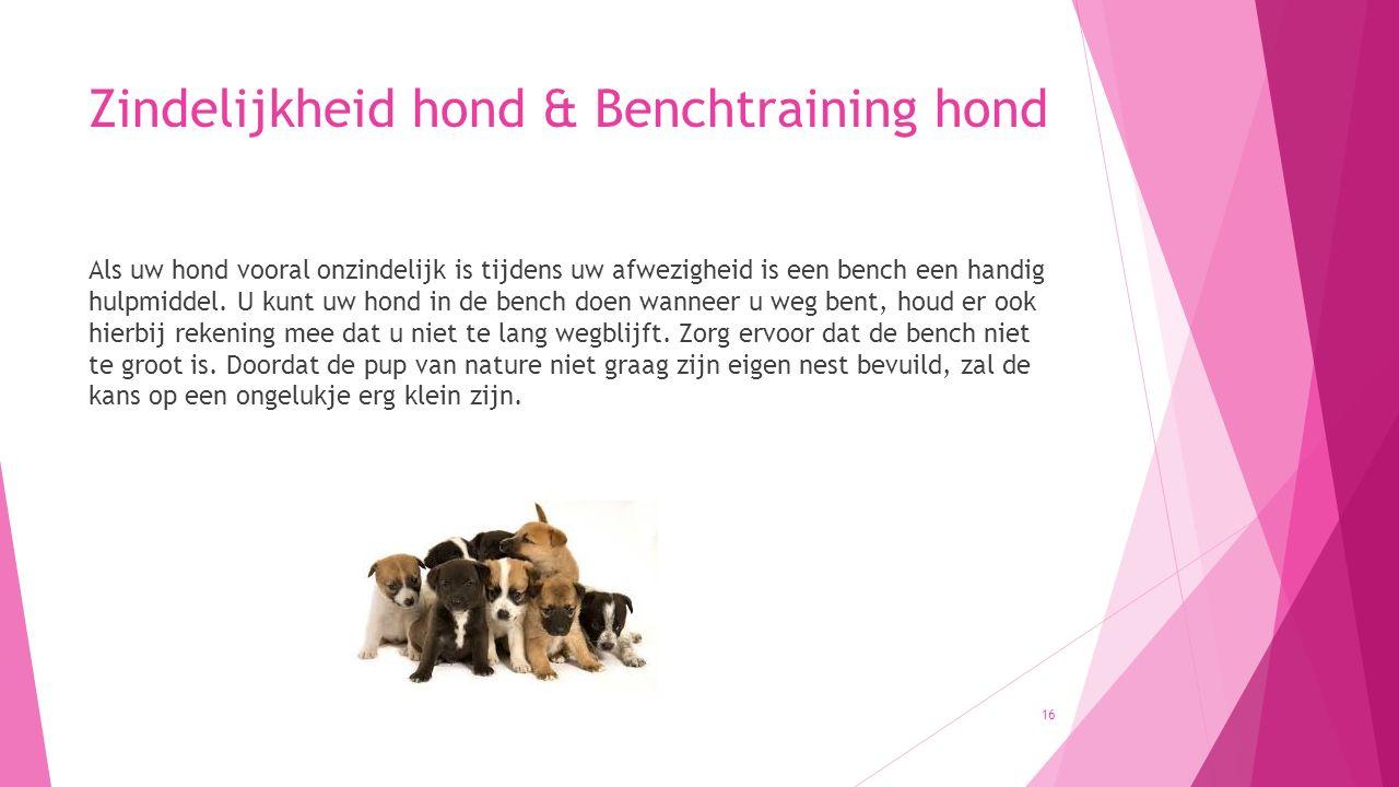 Zindelijkheid hond & Benchtraining hond Als uw hond vooral onzindelijk is tijdens uw afwezigheid is een bench een handig hulpmiddel. U kunt uw hond in