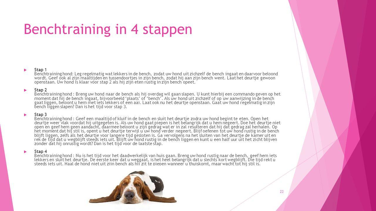 Benchtraining in 4 stappen  Stap 1 Benchtraining hond: Leg regelmatig wat lekkers in de bench, zodat uw hond uit zichzelf de bench ingaat en daarvoor beloond wordt.