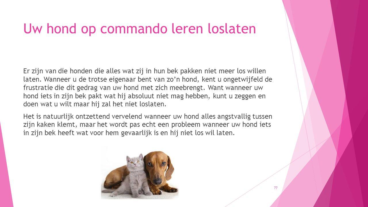 Uw hond op commando leren loslaten Er zijn van die honden die alles wat zij in hun bek pakken niet meer los willen laten. Wanneer u de trotse eigenaar