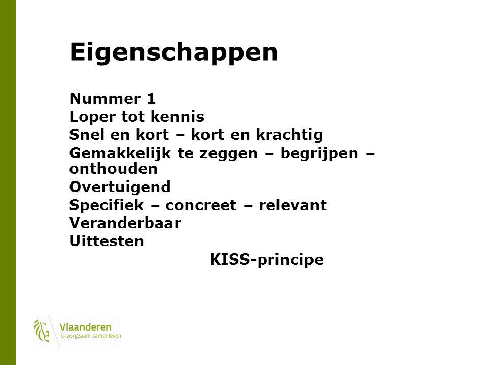 Eigenschappen Nummer 1 Loper tot kennis Snel en kort – kort en krachtig Gemakkelijk te zeggen – begrijpen – onthouden Overtuigend Specifiek – concreet – relevant Veranderbaar Uittesten KISS-principe
