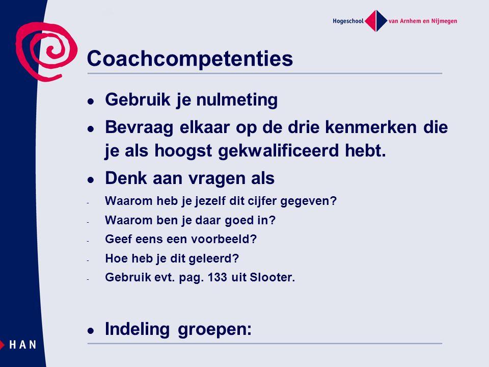Coachcompetenties Gebruik je nulmeting Bevraag elkaar op de drie kenmerken die je als hoogst gekwalificeerd hebt.