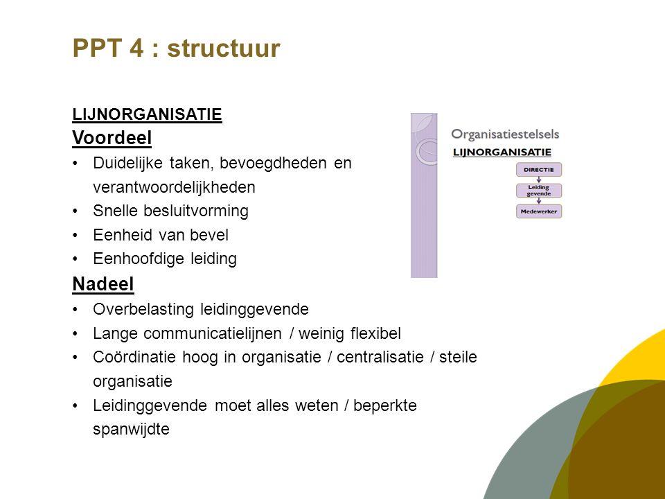 PPT 4 : structuur LIJNORGANISATIE Voordeel Duidelijke taken, bevoegdheden en verantwoordelijkheden Snelle besluitvorming Eenheid van bevel Eenhoofdige