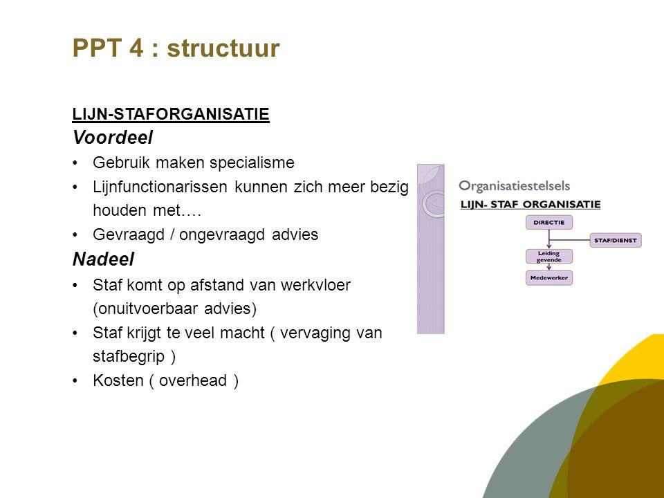 PPT 4 : structuur LIJN-STAFORGANISATIE met functionele bevoegdheid Voordeel  Uniformiteit  Coördinatie Nadeel Doorbreken eenheid van bevel Verwarring leidinggevende ( wie beslist wat ) Sterke neiging tot centralisatie