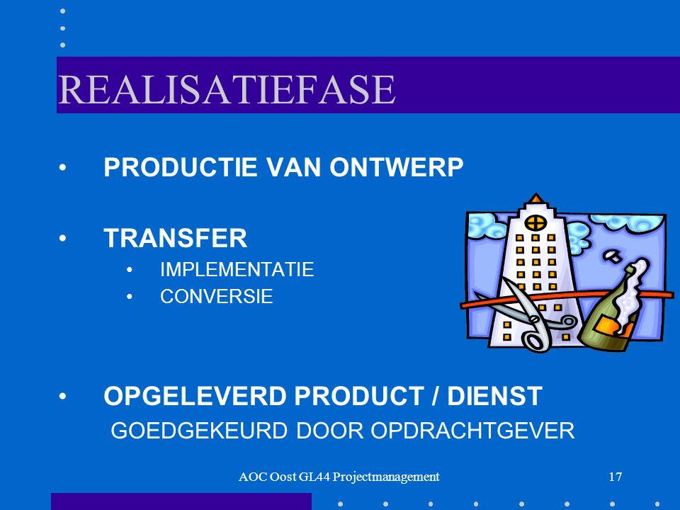 17 REALISATIEFASE PRODUCTIE VAN ONTWERP TRANSFER IMPLEMENTATIE CONVERSIE OPGELEVERD PRODUCT / DIENST GOEDGEKEURD DOOR OPDRACHTGEVER AOC Oost GL44 Projectmanagement
